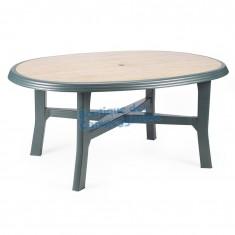 Tavolo ovale a gambe collegate