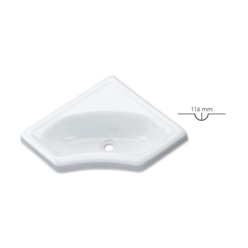 Lavandino per bagno ad angolo L 345 x P 345 mm